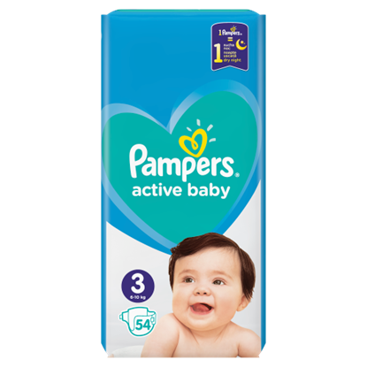 Kép Pampers Active Baby, 3-as Méret, 54 db Pelenka, 6–10 kg