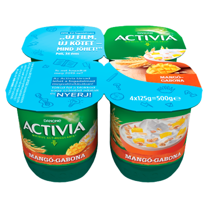 Kép Danone Activia élőflórás, zsírszegény mangós joghurt gabonával 4 x 125 g