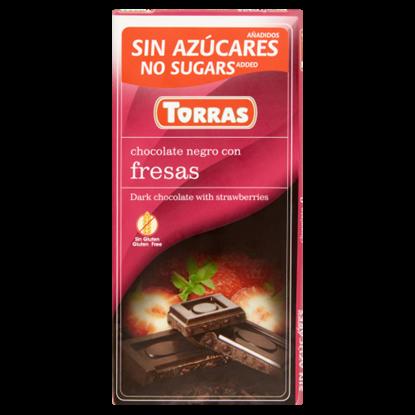 Kép Torras epres étcsokoládé édesítőszerrel 75 g