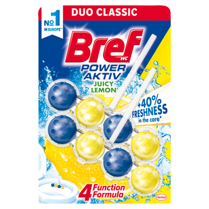 Kép Bref Power Aktiv Juicy Lemon WC-frissítő 2 x 50 g