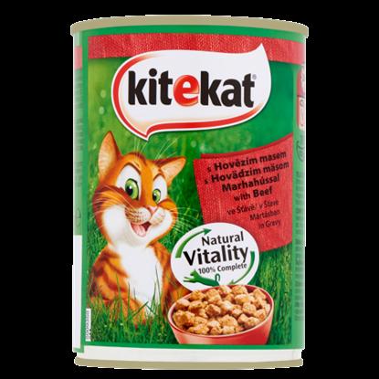 Kép Kitekat teljes értékű állateledel felnőtt macskák számára marhahússal mártásban 400 g