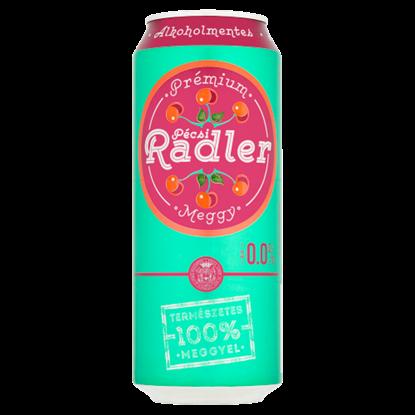 Kép Pécsi Radler Prémium alkoholmentes világos sör és meggy ízű szénsavas üdítőital keverék 0,5 l