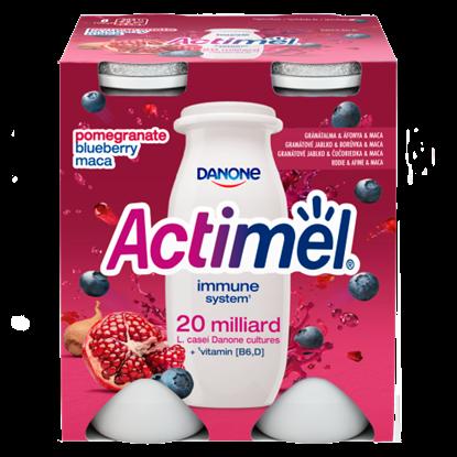 Kép Danone Actimel zsírszegény, élőflórás, gránátalma-maca-áfonyaízű joghurtital 4 x 100 g