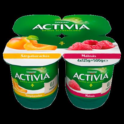 Kép Danone Activia élőflórás, zsírszegény sárgabarackos és málnás joghurt 4 x 125 g