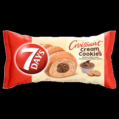 Kép 7DAYS Cream & Cookies mogyorókrémmel töltött croissant keksz darabokkal 60 g