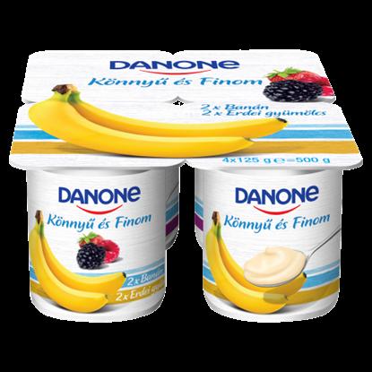 Kép Danone banánízű és erdei gyümölcsízű, élőflórás, zsírszegény joghurt 4 x 125 g