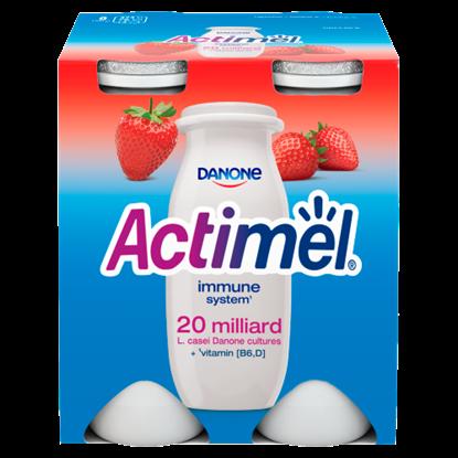 Kép Danone Actimel zsírszegény, élőflórás, eperízű joghurtital 4 x 100 g