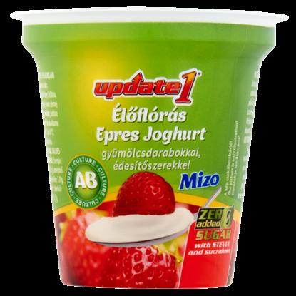 Kép Mizo Update1 élőflórás epres joghurt gyümölcsdarabokkal, édesítőszerekkel 125 g