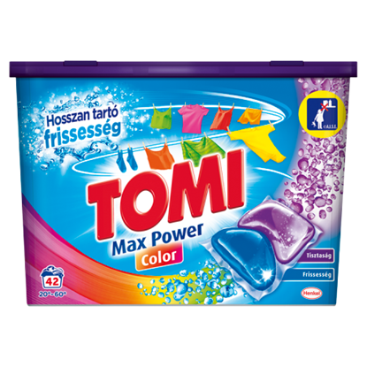 Kép Tomi Max Power Color kétkamrás mosókapszula gépi mosáshoz, színes ruhadarabokhoz 42 mosás 840 g