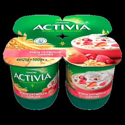 Kép Danone Activia élőflórás, zsírszegény joghurt piros gyümölcsökkel és gabonával 4 x 125 g (500 g)