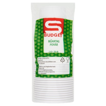 Kép S-Budget 2 dl-es műanyag pohár 20 db